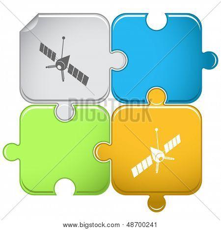 Spaceship. Raster puzzle.
