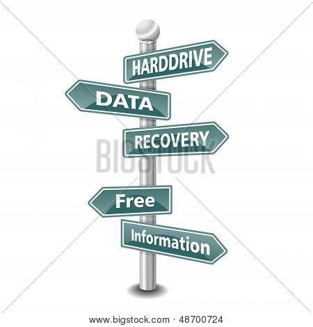 el icono de HARD DRIVE DATA RECOVERY palabras diseñado como cartel de camino verde - nueva tendencia TOP