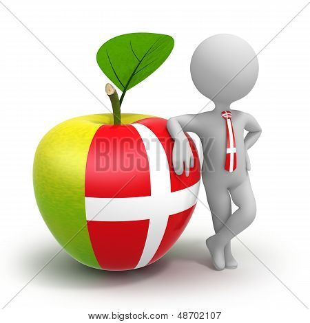 Apple With Denmark Flag And Businessman