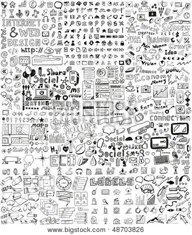 Elementos dibujados a mano enorme conjunto de negocios, social, tecnología / garabatos