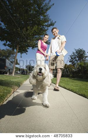 Low angle view of a couple walking dog along pavement