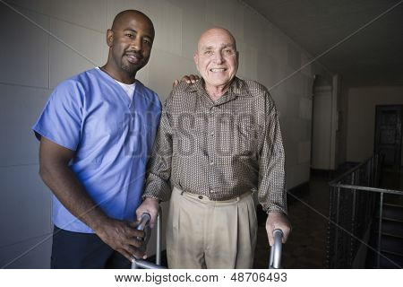 Portrait of a male healthcare worker with elderly man