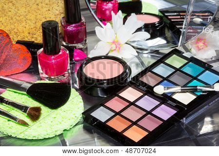 Colourful Eye Makeup With Assorted Cosmetics