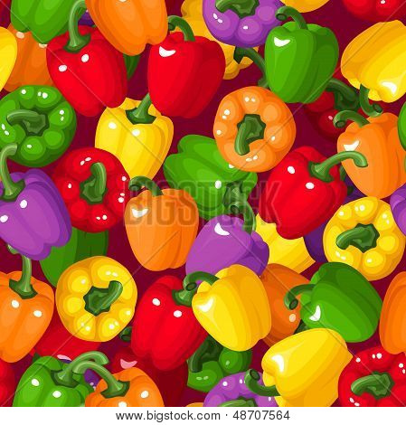 Vector seamless background with colorful bell peppers.