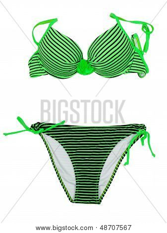 Green Striped Swimsuit