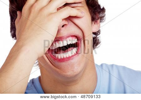 Close up portrait of hard laughing young man. Isolated on white background, mask included