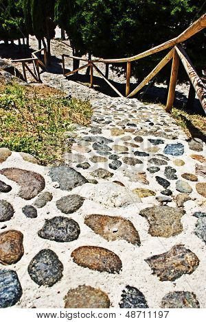 Natural stairway with stone in the nature