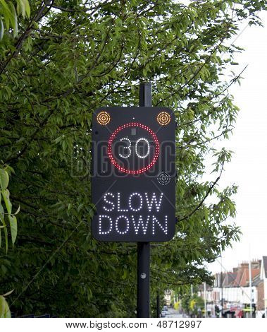 Slow down 30 sign