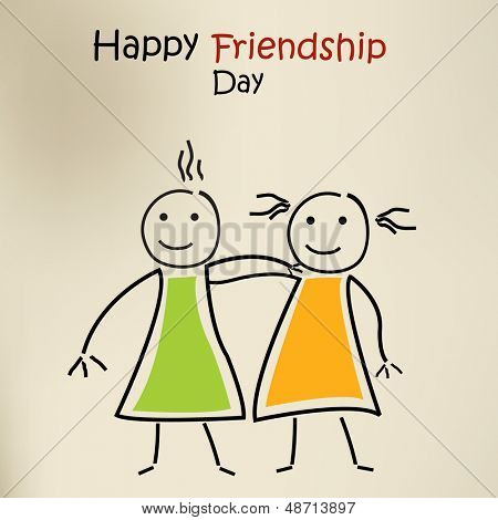 Happy friendship day greeting card or background with cartoonist illustration of little kids.