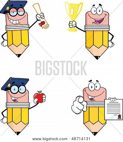 Pencil Cartoon Characters. Set Collection 4