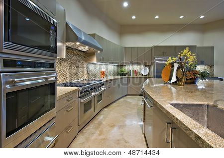 Modern kitchen with vent hood above stainless steel stove