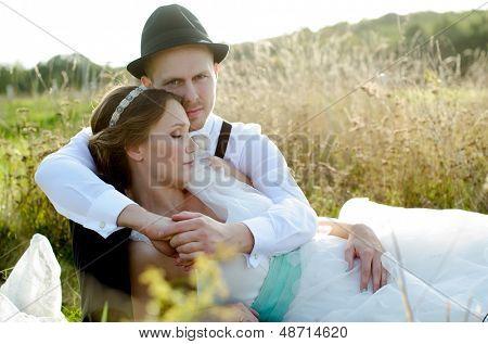 Happy couple on wedding day. Bride and Groom. Vintage wedding.