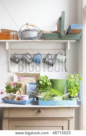 Gardening equipment on kitchen's dresser with cups hanging above it