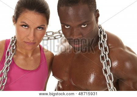 Fitness Couple Chain Sweat Close Look