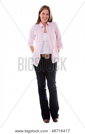 Happy fullbody casual woman smiling - isolated over white