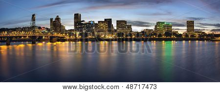 Portland Oregon Downtown Waterfront Skyline At Blue Hour