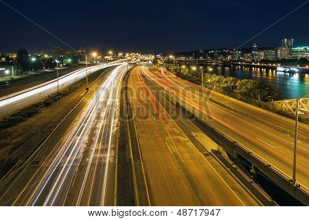 Interstate Freeway Light Trails Through Portland Oregon