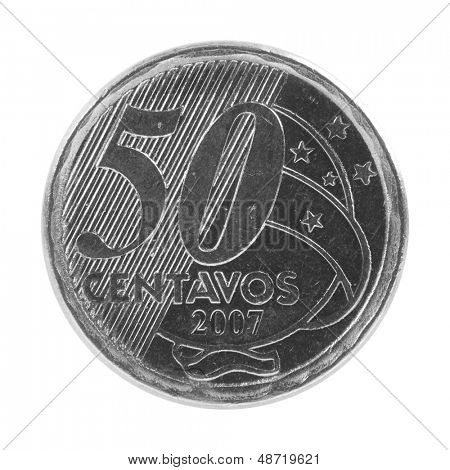 50 Brazilian real centavos coin isolated