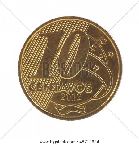 10 Brazilian real centavos coin isolated