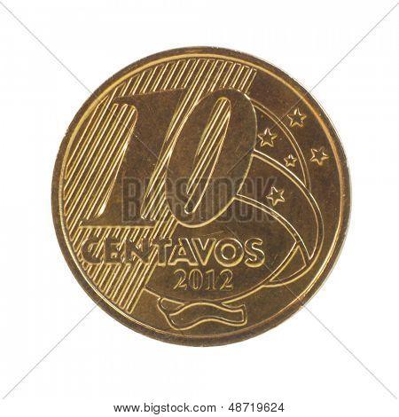 Moeda de 10 centavos de real brasileiro isolada