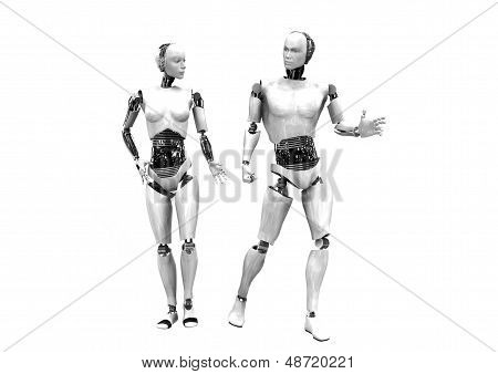man and woman cyber robots