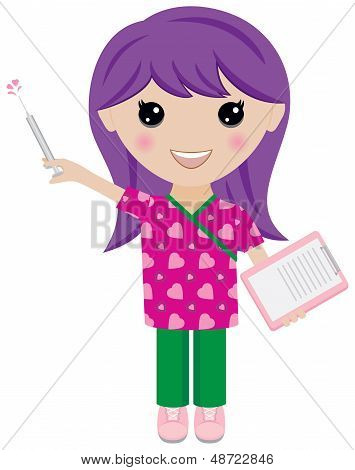 Kawaii Girl Nurse with Syringe and Clipboard