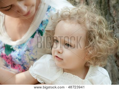 Girl Of Three Years With Her Mother