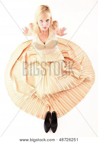 Woman Blonde Fashion Model Dress Isolated