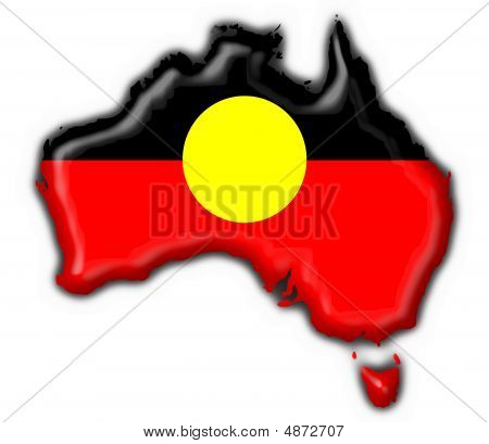 Australian Aboriginal Button Flag Map Shape