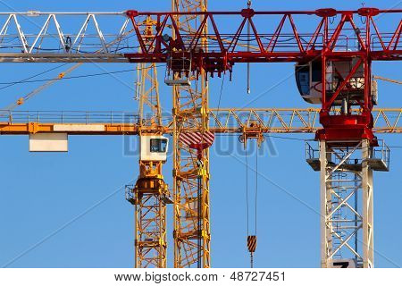 Tower cranes closeup