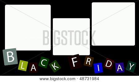 Three Square Label On Black Friday Background
