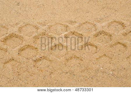 Heavy Machine Track Mark Remain Sand Background