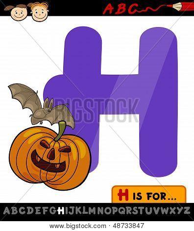 Letra H para la ilustración de dibujos animados de Halloween