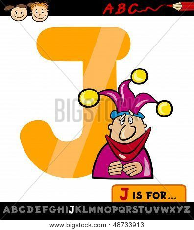 Letter J With Jester Cartoon Illustration