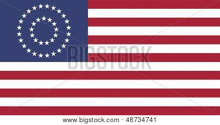 Us Civil War Union -37 Star Medalion- Flag Flat