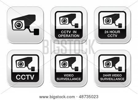 CCTV camera, Video surveillance buttons set