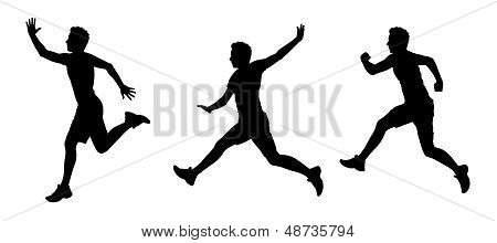 Man Flying Silhouettes Set