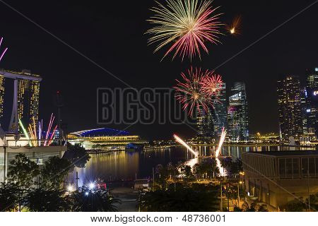 Fireworks Display At Marina Reservoir