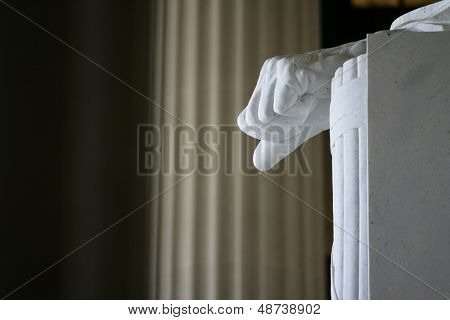WASHINGTON, D.C. - JULY 29: The left hand of the statue of Abraham Lincoln is shown at the Lincoln Memorial on July 29, 2013 in Washington, D.C. The memorial was dedicated in 1922.