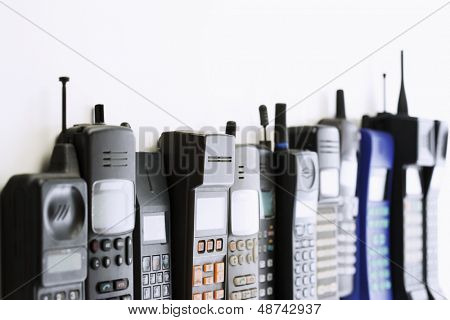 Row of mobile phones