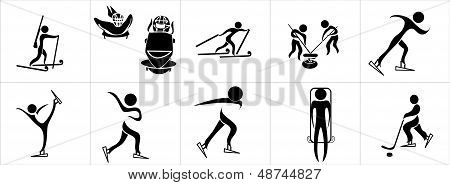 Set of silhouettes of winter sport