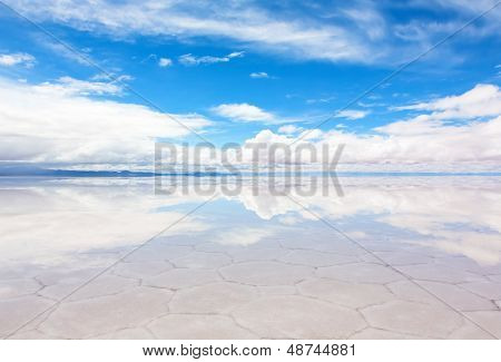 Lake Salar de Uyuni with a thin layer of water
