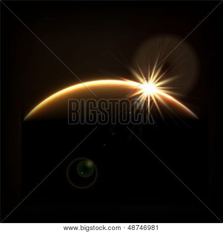 Abstract cosmic sunrise background.