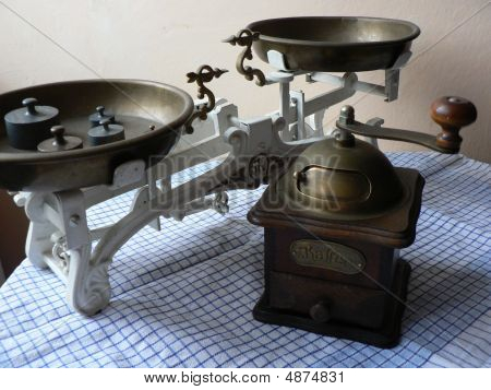 Coffee Mill And Kitchen Scales