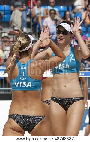 10/08/2011 LONDON, ENGLAND, Heather Bansley & Elizabeth Maloney (CAN)  during the FIVB International Beach Volleyball tournament, at Horse Guards Parade, Westminster, London.