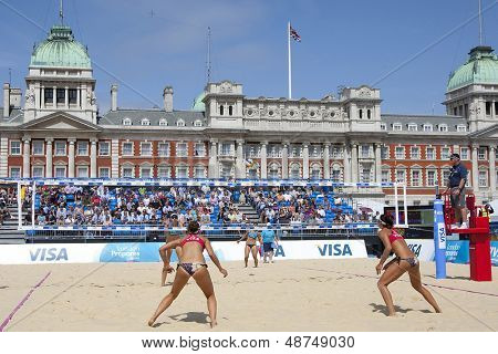 10/08/2011 LONDON, ENGLAND, Heather Bansley & Elizabeth Maloney (CAN) vs Alejandra Simon & Andrea Garci�?�­a Gonzalo (ESP) during the FIVB Beach Volleyball, at Horse Guards Parade, Westminster, London.