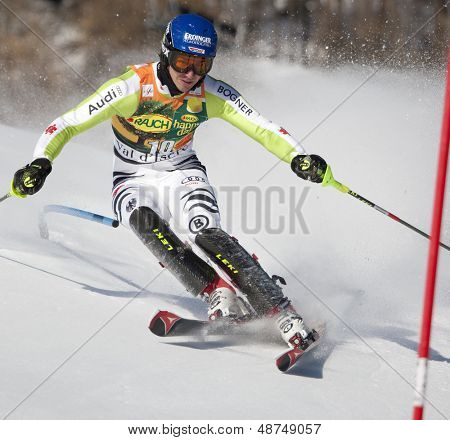 VAL D'ISERE FRANCE. 12-12-2010. NEUREUTHER Felix GER attacks a control gate during the FIS alpine skiing world cup slalom race on the Bellevarde race piste Val D'Isere.