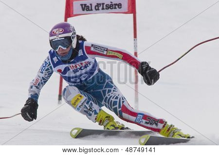 VAL D'ISERE FRANCE. 15-12-2010. Megan McJames (USA) speeds down the course, during the first official training run for the FIS Alpine skiing World Cup race in Val D'Isere France.