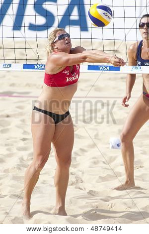 10/08/2011 LONDON, ENGLAND,  Lucy Boulton (GBR) during the FIVB International Beach Volleyball tournament, at Horse Guards Parade, Westminster, London.