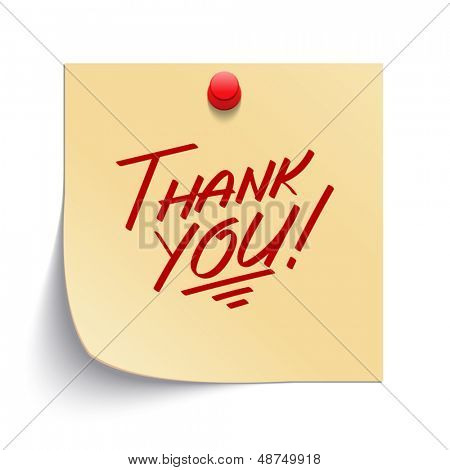 Note paper with thank you message and push pin vector illustration. Eps 10.
